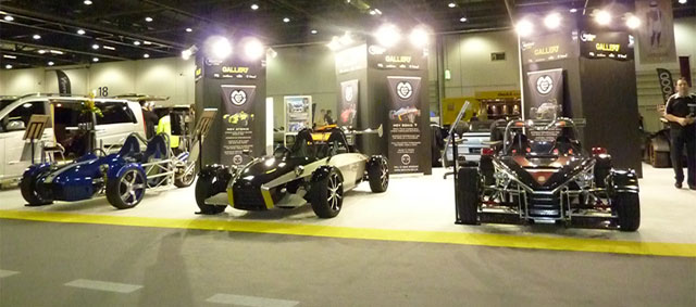 RTR displays the MEV Rocket, MEV Sonic 7 and MEV tR1ke at the Top Gear Live Excel London Show