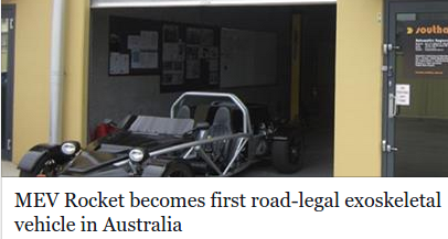 Rocket is first exoskeletal vehicle for road use in Australia