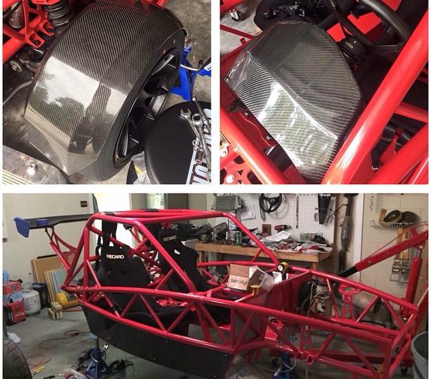 Carbon fiber on Racer Red