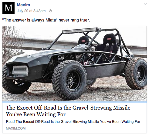 Exocet Off-Road featured in Maxim Magazine