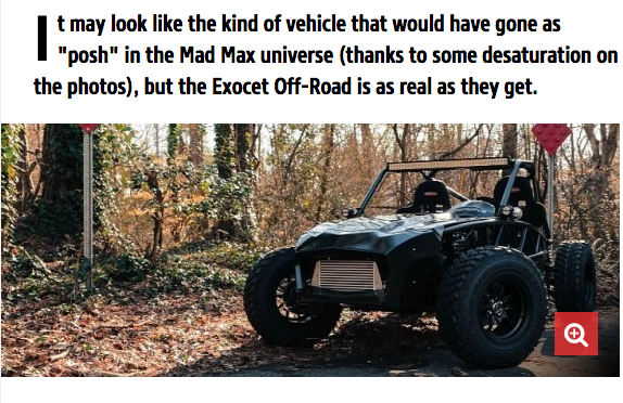 The Exocet Off-Road has become popular, with a feature in autoevolution!