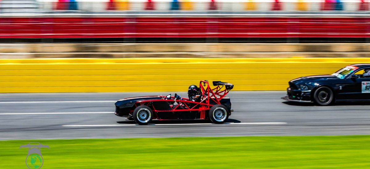 A beautiful shot at the vibrant Charlotte Motor Speedway