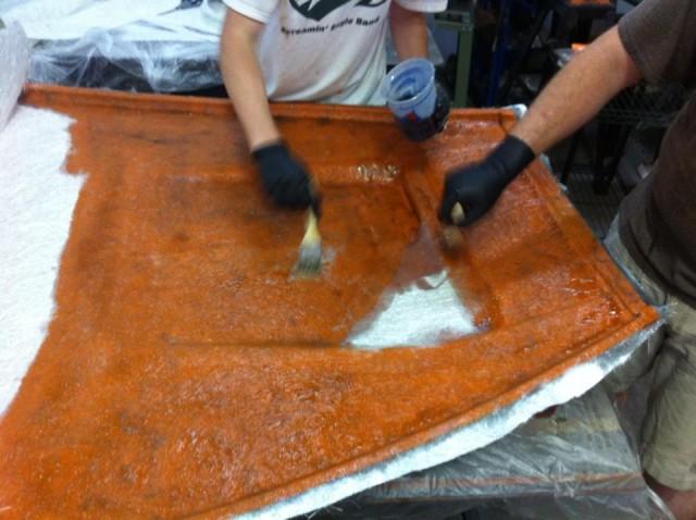 Traffic Orange Gelcoat Fiberglass Exocet Hood Layup