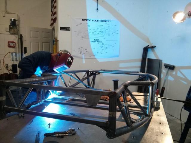 Al welds up an Exocet frame