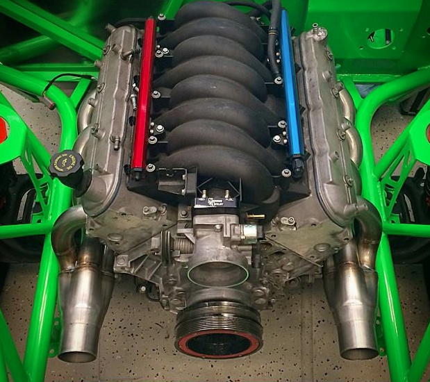 Danny George test fits his twin turbo V8 engine…and it looks good