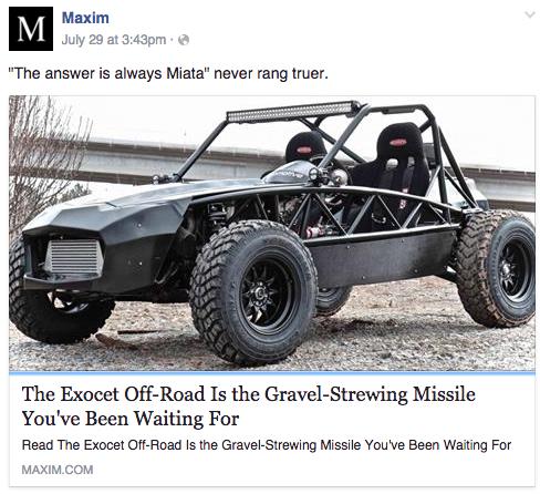 Exocet Off-Road featured in Maxim Magazine