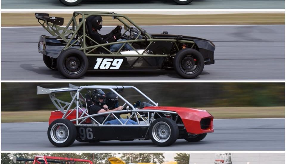 Three flavors of the Exocet Race chassis hit the track